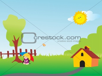 beautifull house and girl in green land, illustration