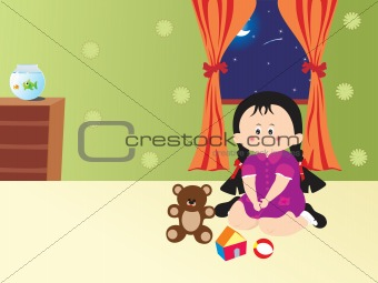 cute girl playing toys on the bed, illustration