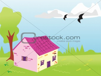 green landscape with house, illustration
