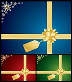 Christmas bow and gift card backgrounds