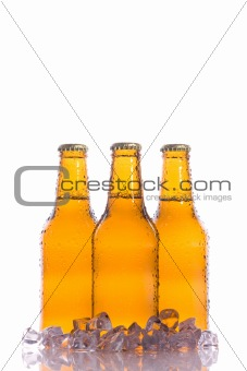 Three isolated cool Beers with Ice