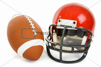 Football and Helmet Isolated