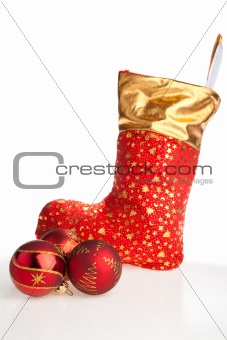 Christmas boot and red balls beside
