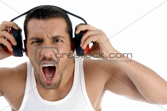 caucasian guy enjoying rock music with full volume