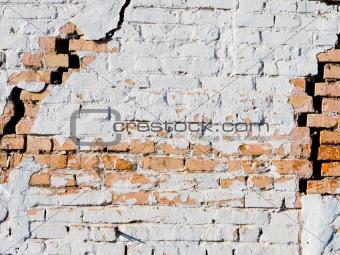 Old brick masonry wall