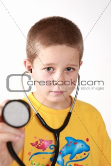 Boy and auscultoscope