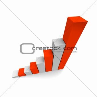 Growing column graph 3d illustration