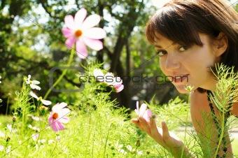 beautiful woman in the meadow