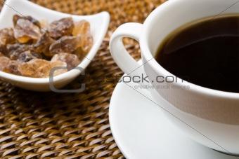 Black coffee and sugar