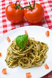 Plate of fresh spaghetti with tomatoes