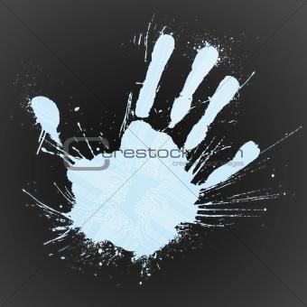 Technological blue splatter handprint