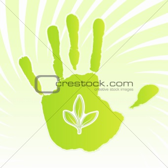 Ecology leaf handprint design