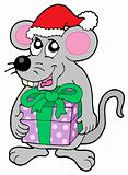 Christmas mouse with gift
