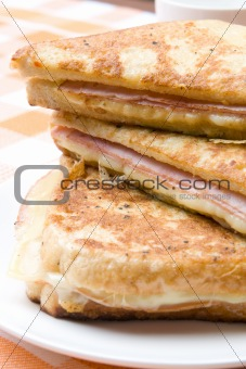 Toasted cheese and ham sandwiches