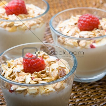 Three glasses of deliciously fresh yogurt and muesli