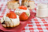 Scones, strawberries and clotted cream
