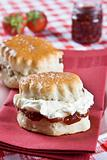 Freshly backed scones with cream and jam