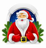 vector Christmas Santa Claus in window