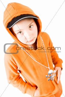 A pretty girl in an orange track suit