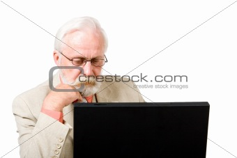 A business man concentrating on his computer
