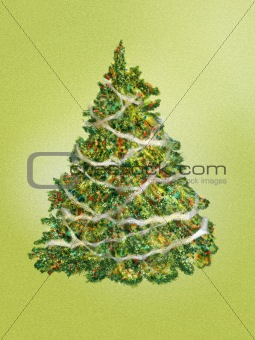 Fir-tree on a green background