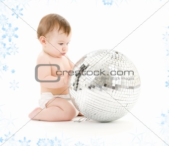 baby boy with big disco ball