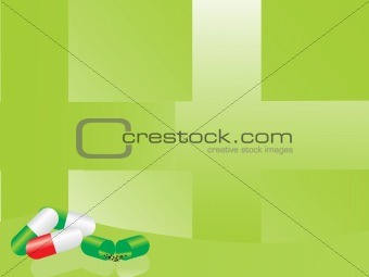 green medical background with capsule