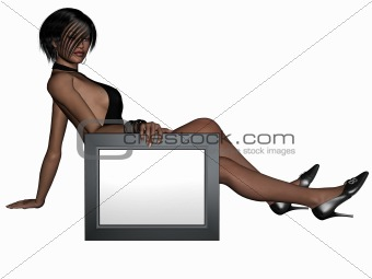 Beauty Girl with Sign