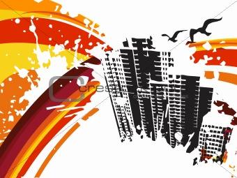 background with grunge city, design3