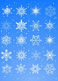 20 beautiful cold crystal gradient snowflakes - vector illustrat