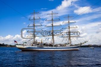 A white frigate on Neva river