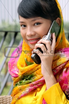 Attractive Asian Girl on the Phone