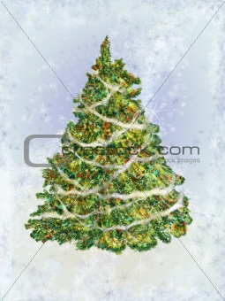 Fir-tree on a blue background
