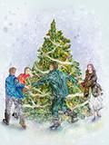 People dancings round a festive fir-tree