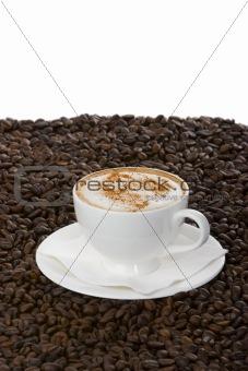 Cappuccino on cofee bean