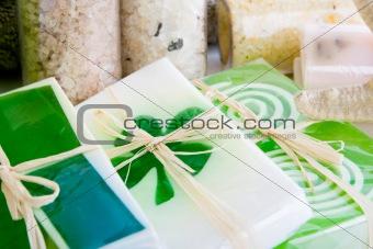 Close up of soap and bath salts