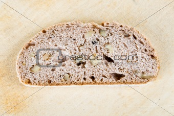 A slice of walnut bread