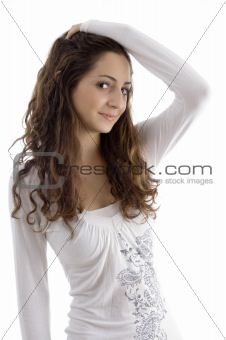 portrait of beautiful young fashionable girl posing