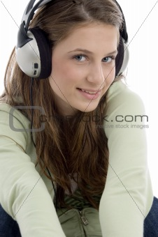 close up of  pretty female in headset
