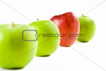 A line of fresh apples