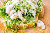 Prawn and cress open sandwich
