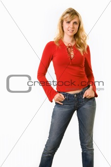 Blond woman with red top