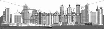very detailed city skyline