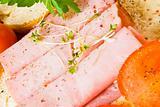 Fresh rolls of ham