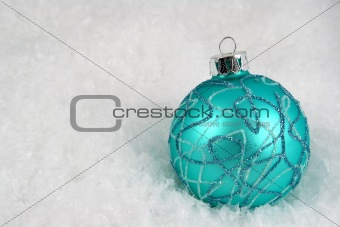 Aqua Christmas Bauble in Snow