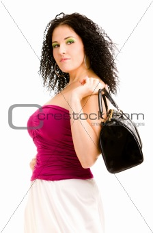Woman with a black handbag