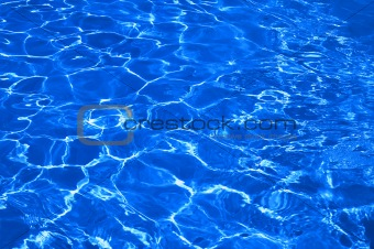 blue water in pool