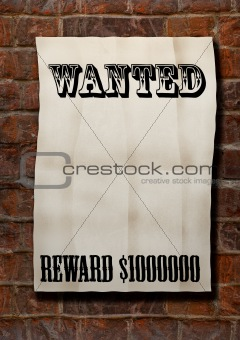 old paper blank Wanted!Reward 1000000$