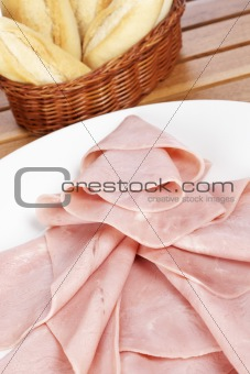Slices of spanish ham and bread