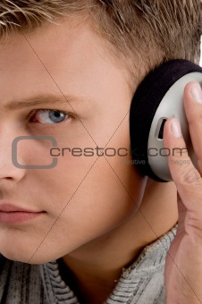 close view of man and headphone